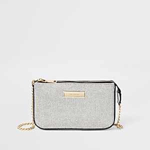 Dark grey sequin embellished underarm bag