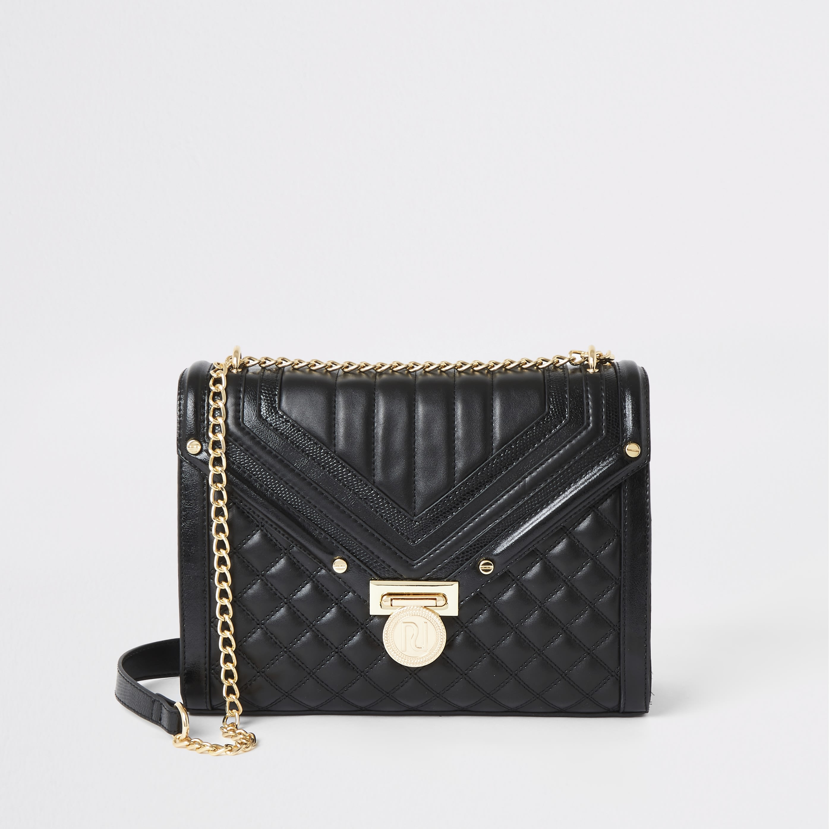 RIVER ISLAND | Womens Black Quilted Cross Body Bag | Goxip