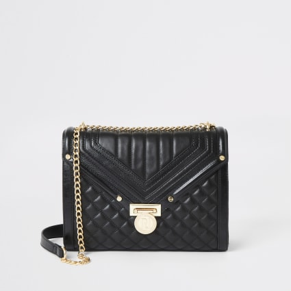 Black quilted cross body bag