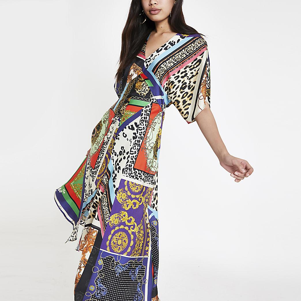 Zwarte asymmerische midi-jurk met gecombineerde print