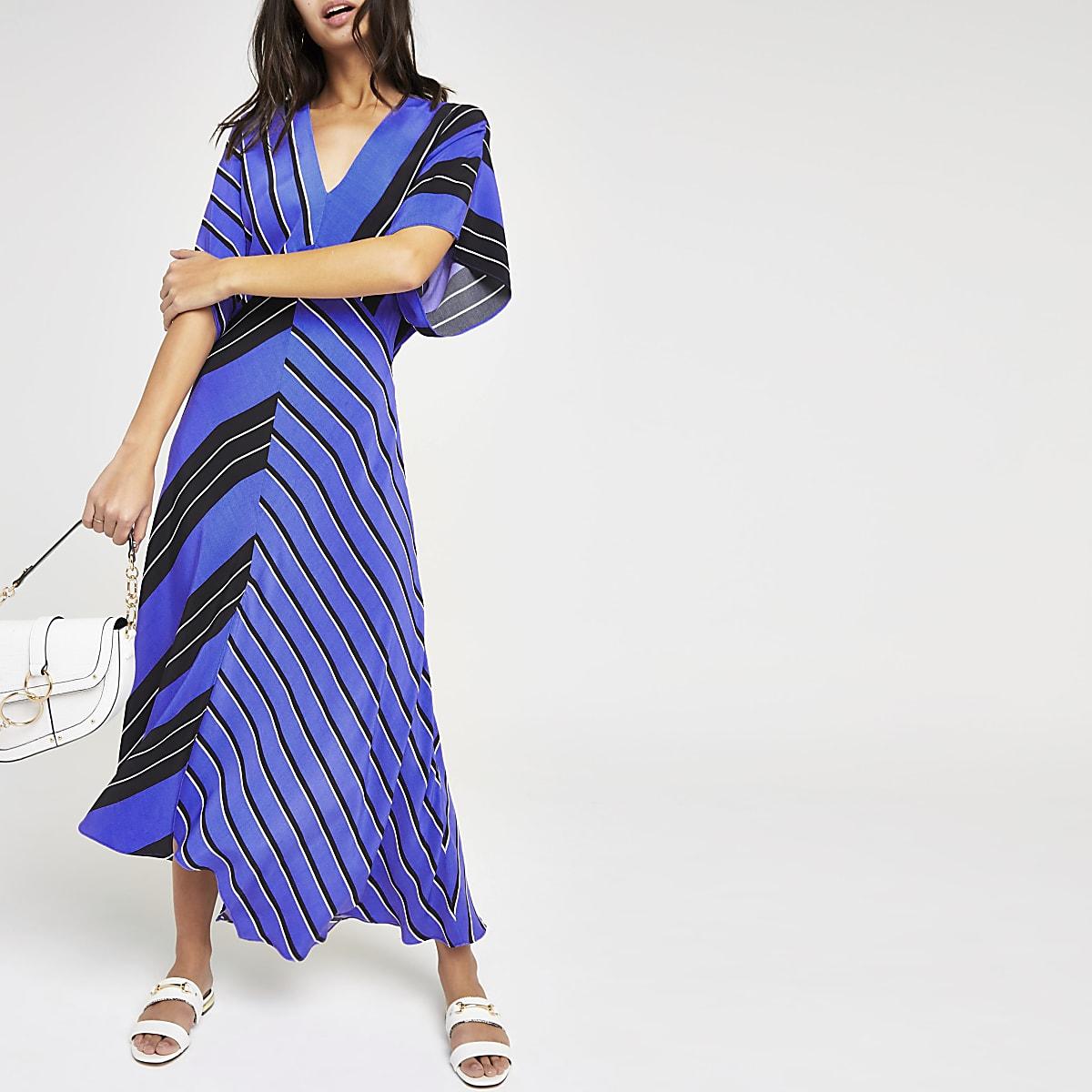 Blue stripe assyemtric hem dress