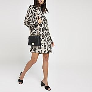 Brown leopard print high neck swing dress