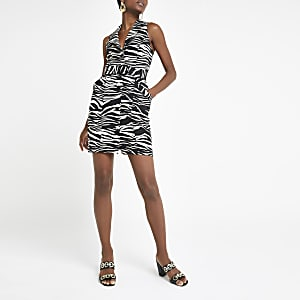 Beige zebra print belted bodycon dress