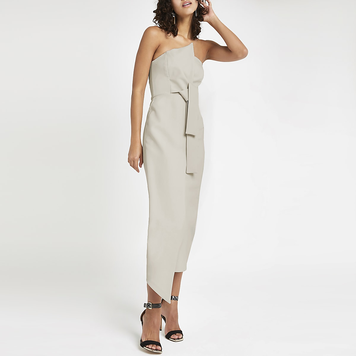 Light grey bandeau bodycon maxi dress