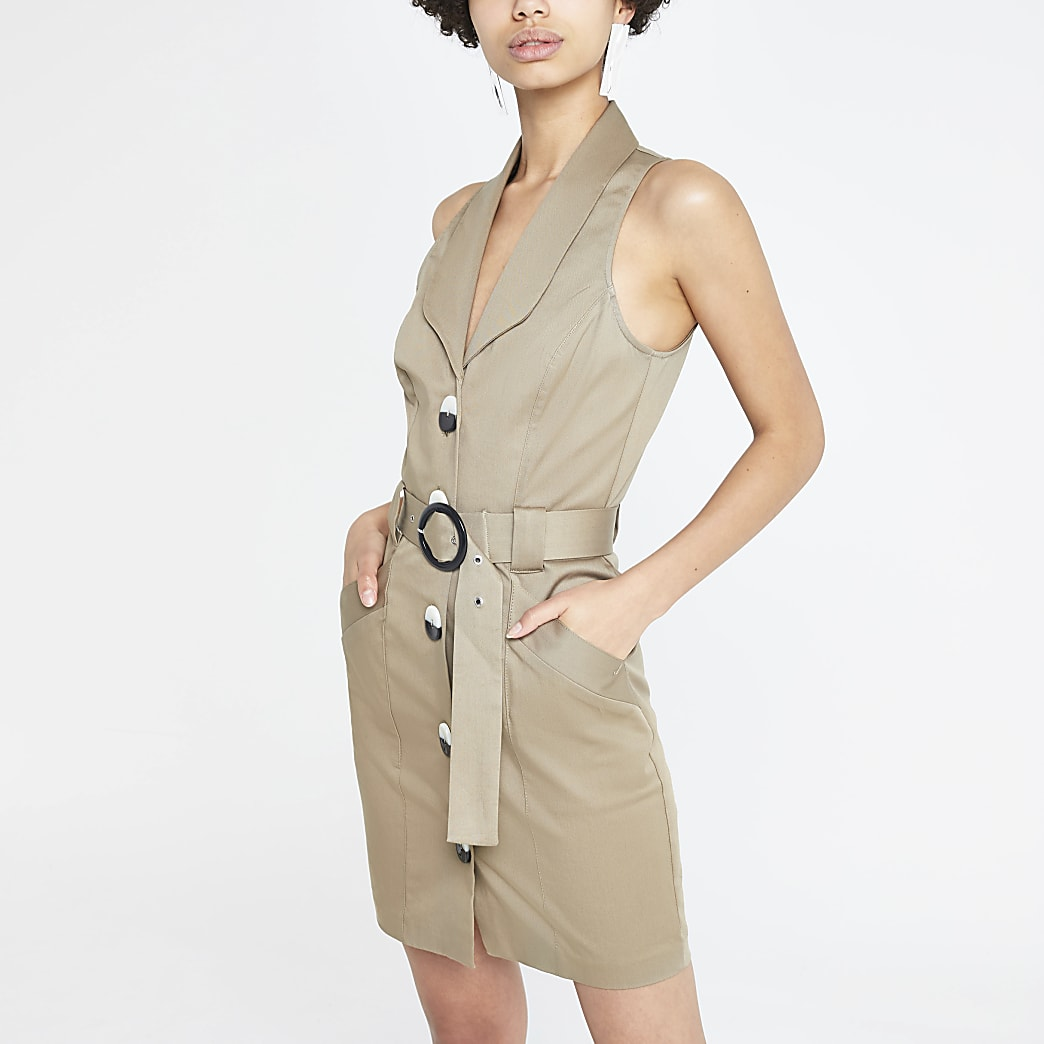 Brown utility bodycon dress