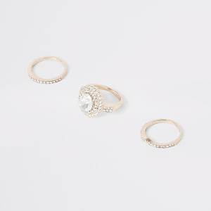Rose gold colour diamante ring multipack