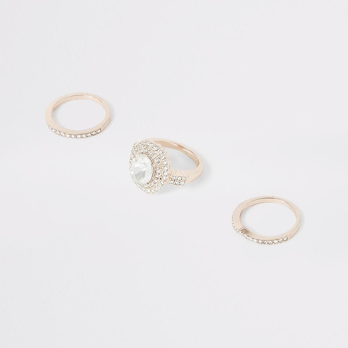 Rose gold colour diamante ring multipack