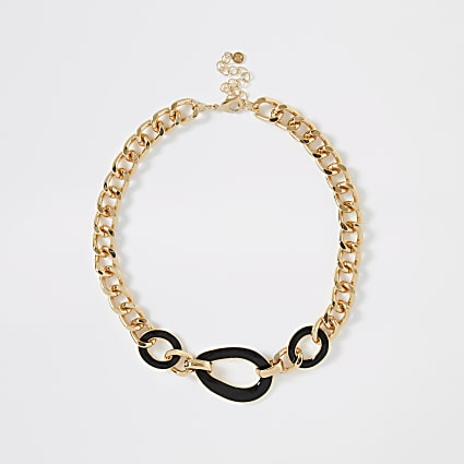 Gold colour chunky interlink necklace