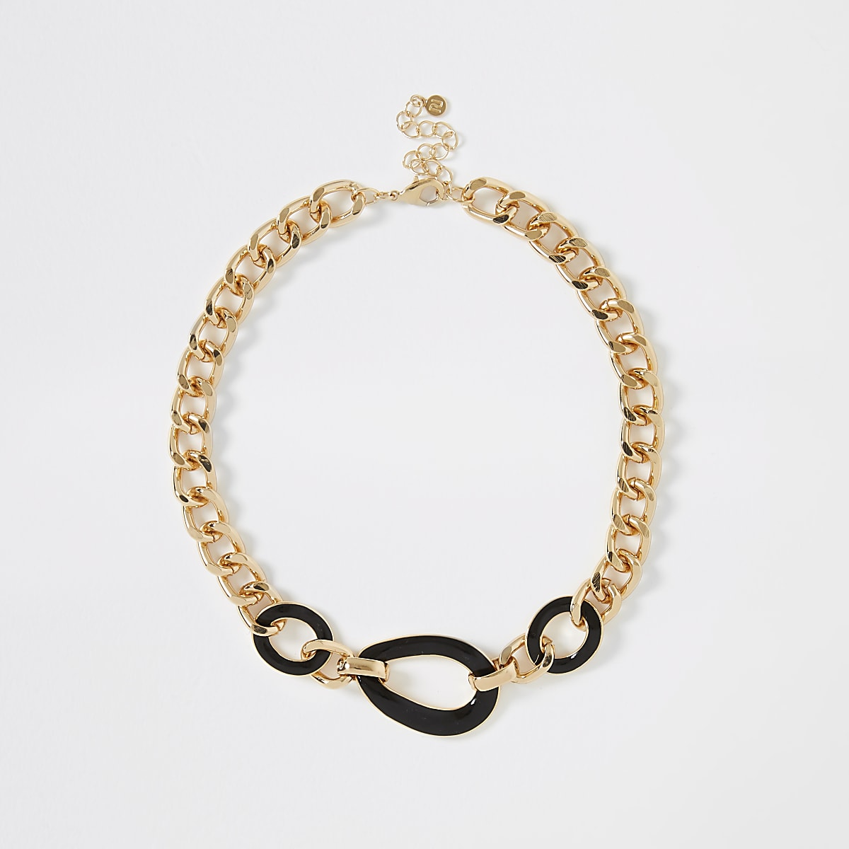 Gold color chunky interlink necklace