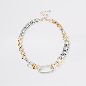 Grobe Halskette in Silber und Gold