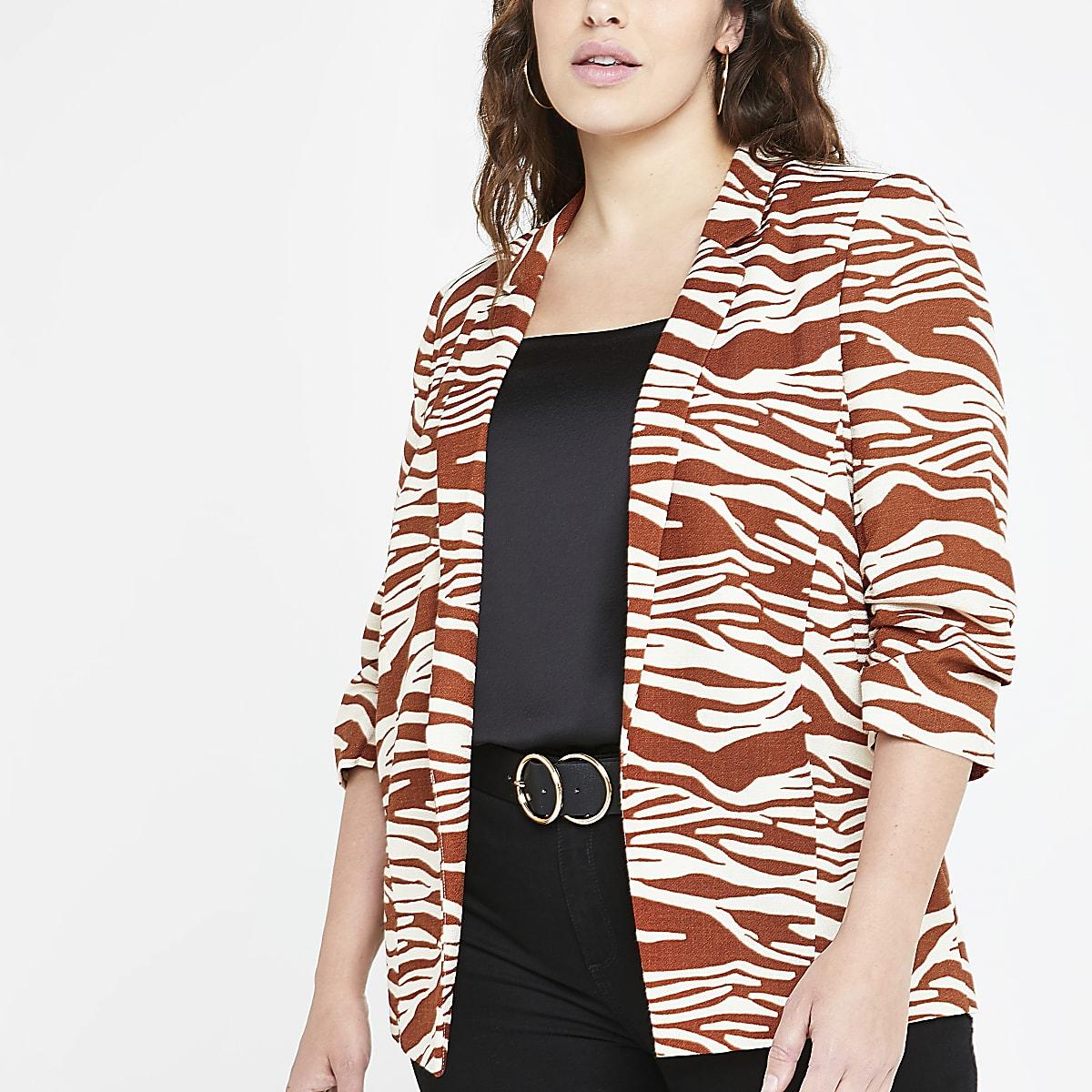 Plus brown zebra print ruched sleeve blazer