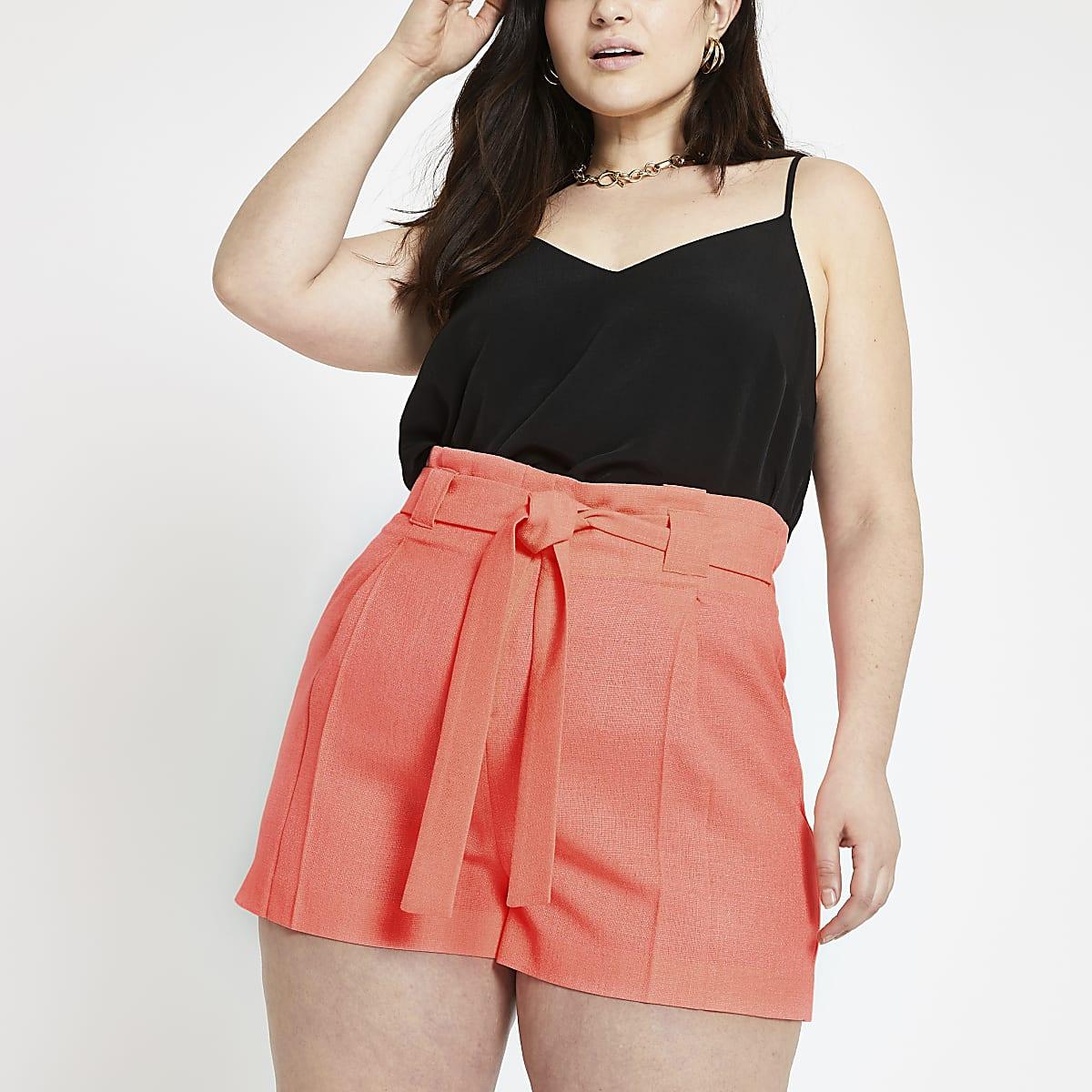 Plus bright orange tie waist shorts