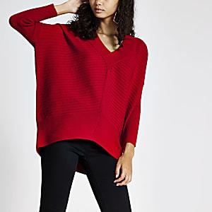 Rode pullover met V-hals en lange mouwen