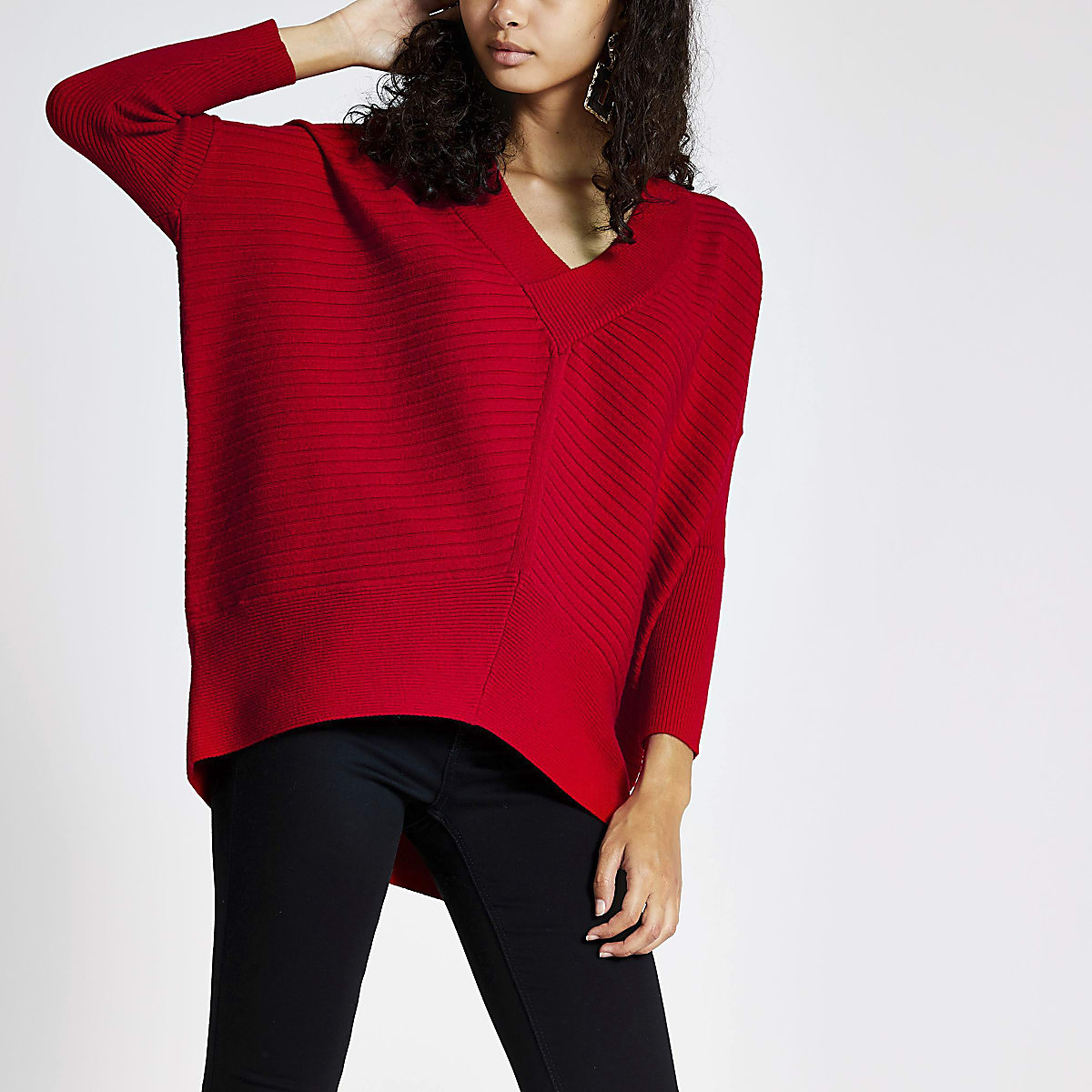 Red V neck long sleeve jumper