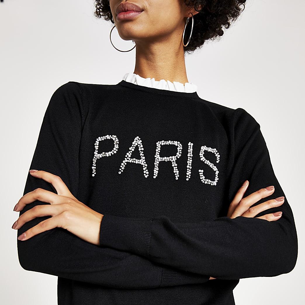 Paris- Zwart gebreide top met parels erop geborduurd
