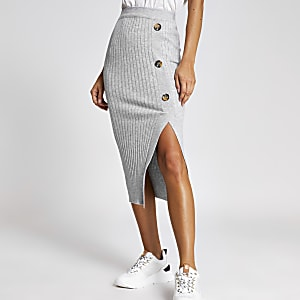 Light grey knitted midi skirt