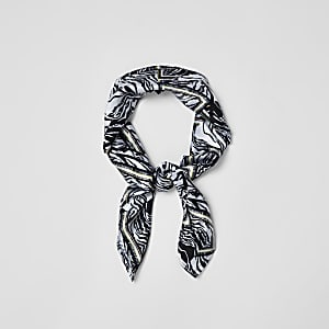 Black zebra print satin scarf