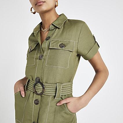 Khaki linen belted utility shirt