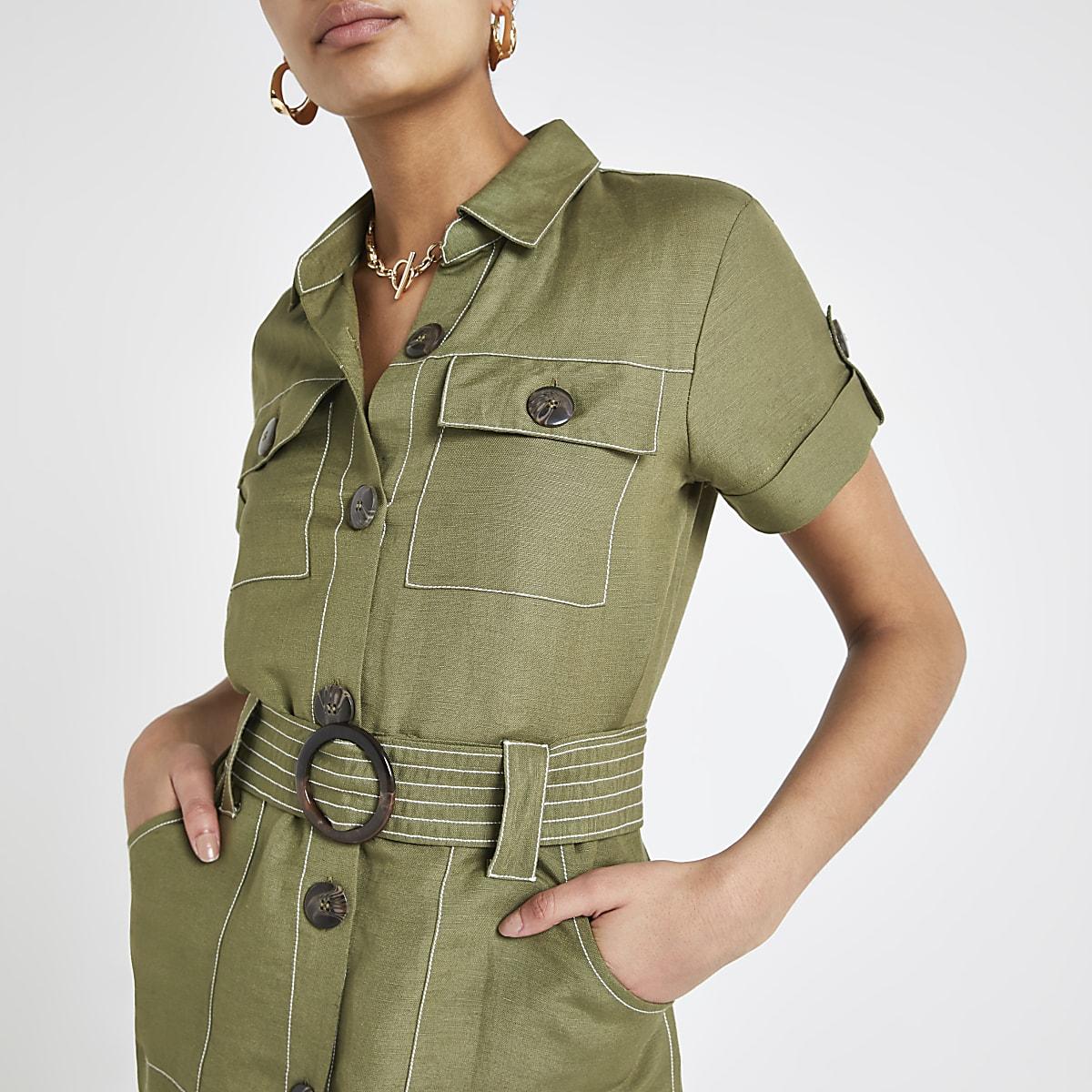Kaki linnen utility overhemd met ceintuur