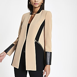 Light beige color block blazer