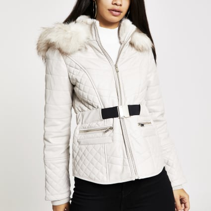 Beige faux leather fitted padded jacket
