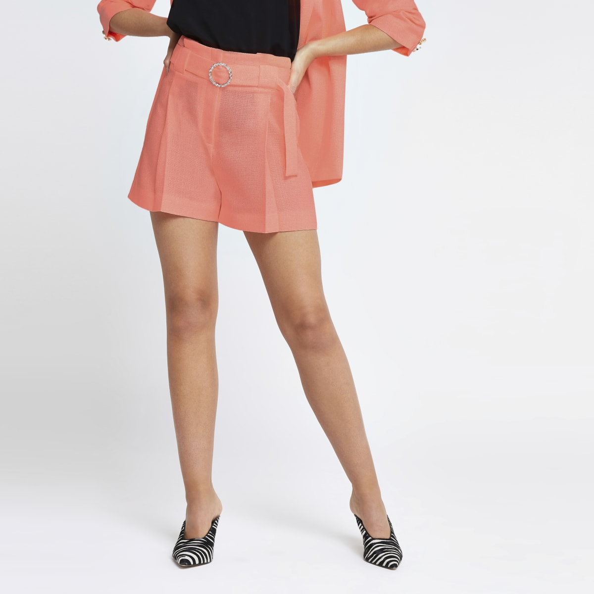 Neon orange belted shorts