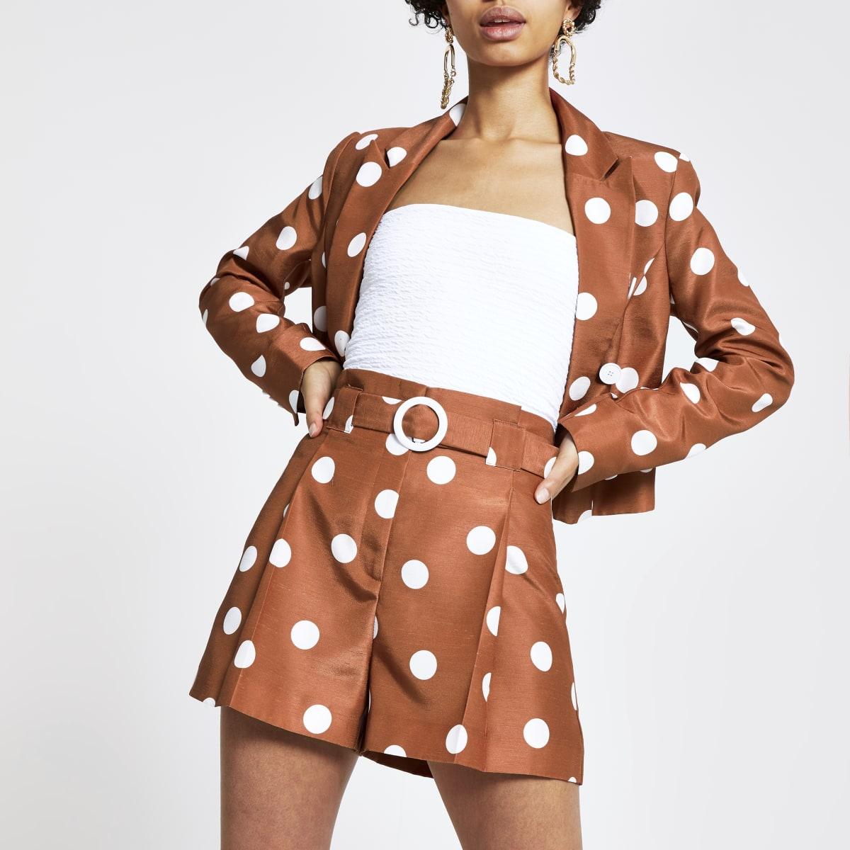 Brown spot print belted waist shorts
