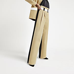 Light brown paperbag tailored trousers