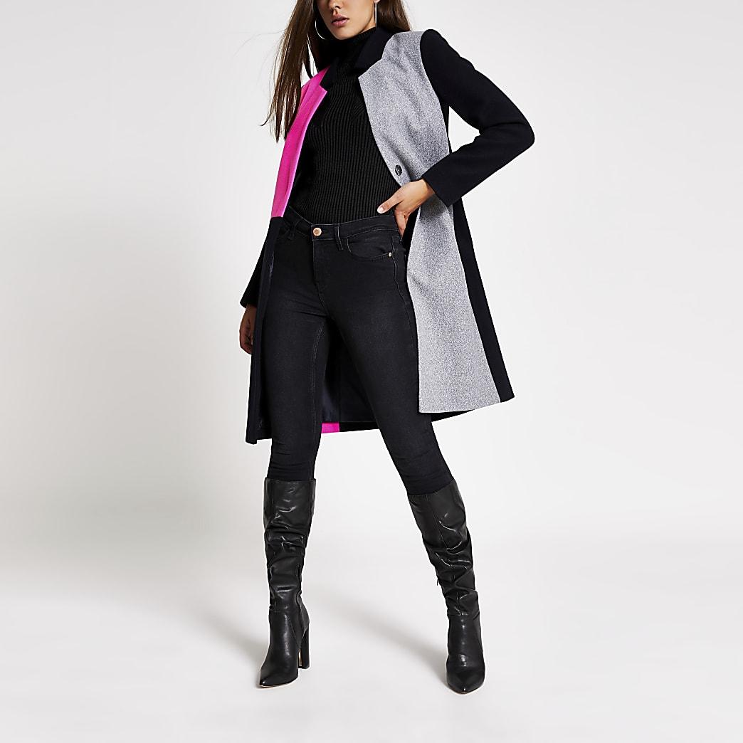 Navy colour blocked longline coat