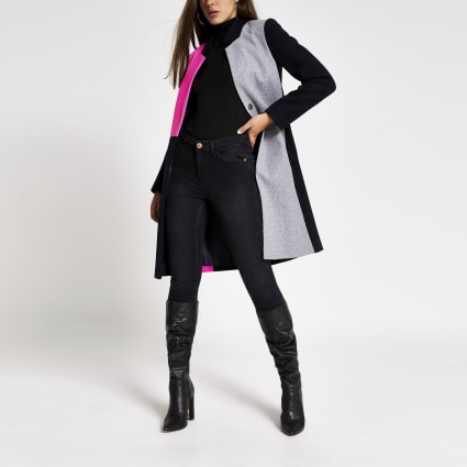 Navy colour blocked longline coat