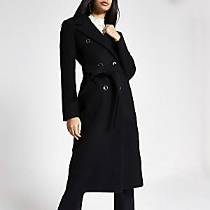 Schwarzer, zweireihiger Longline-Mantel mit Gürtel