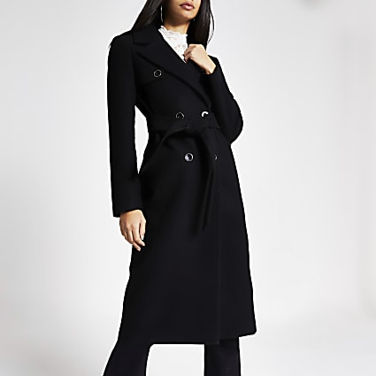 Black double breasted belted longline coat