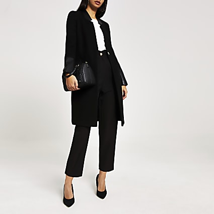 Black PU panelled single–breasted coat