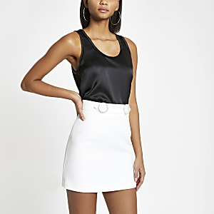 White rhinestone trim mini skirt