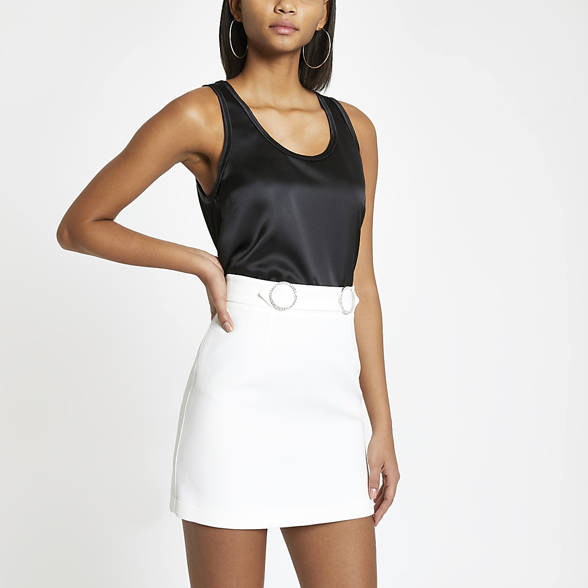 White Diamante Trim Mini Skirt Mini Skirts Skirts Women