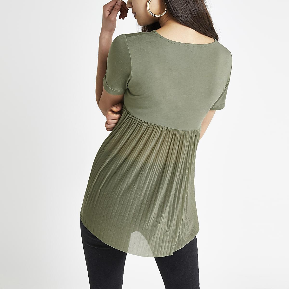 Khaki pleated short sleeve T-shirt