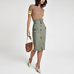 Khaki utility pencil skirt