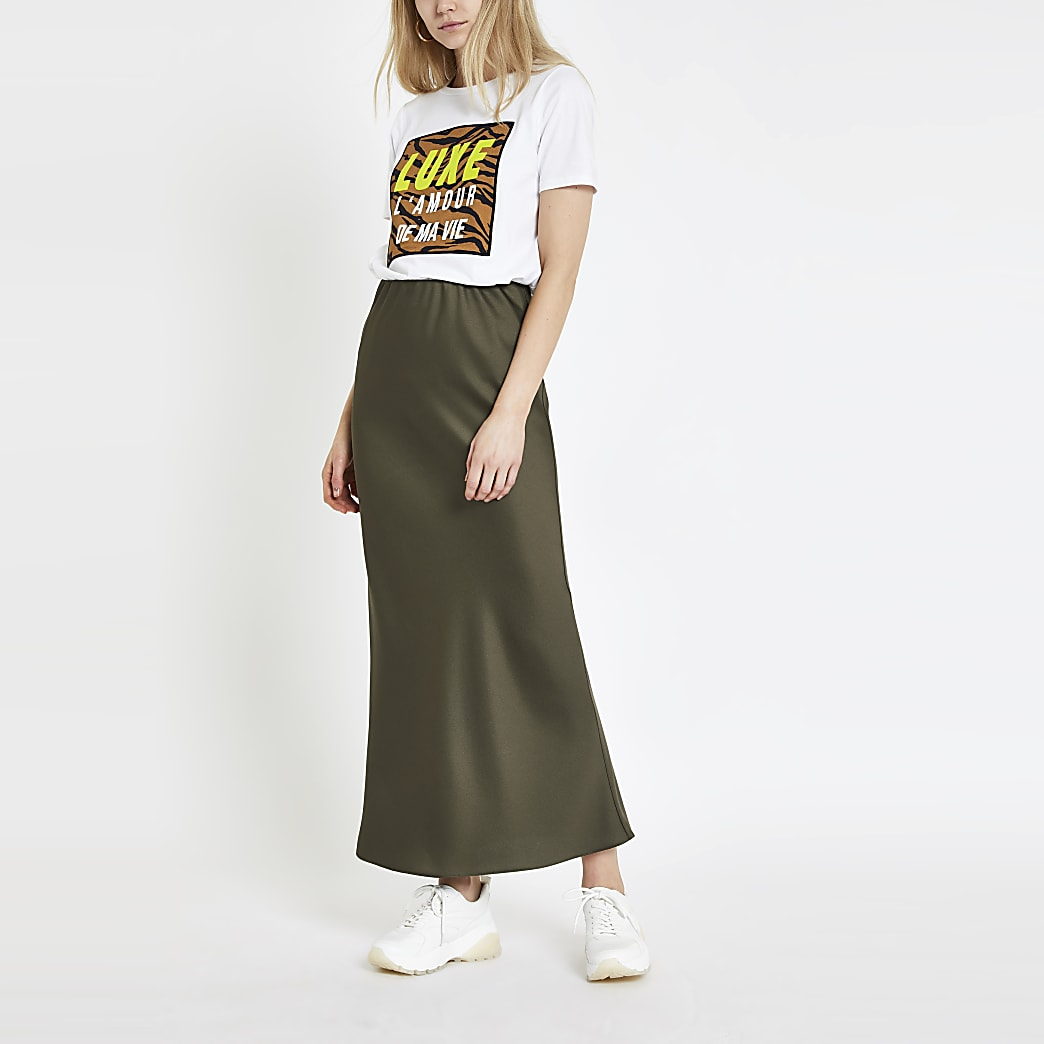 Khaki bias cut maxi skirt