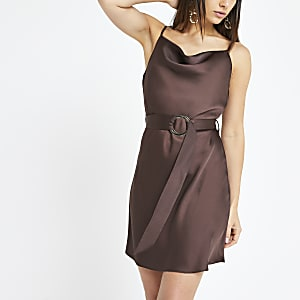 Petite brown cowl neck belted slip dress