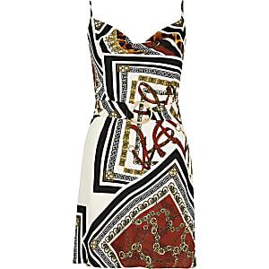 RI Petite - Bruine jurk met print, losvallende col en ceintuur