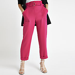Petite pink belted peg trousers