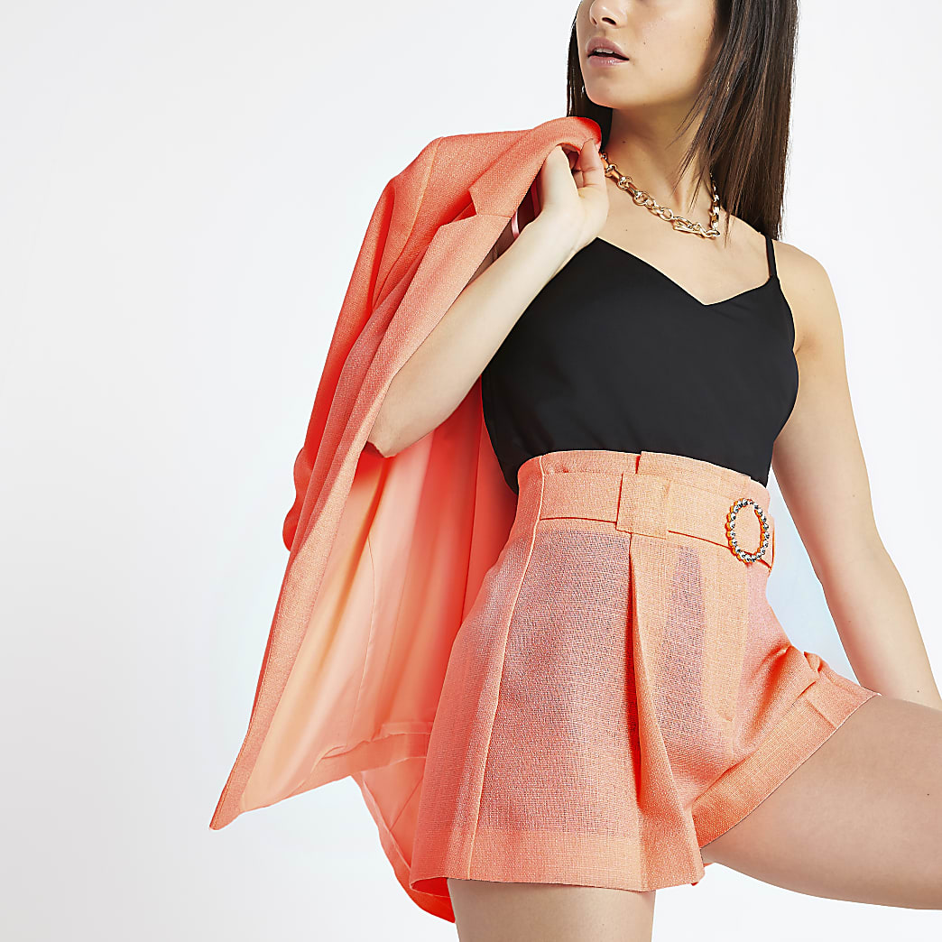 Petite coral belted shorts