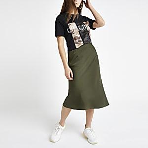 Petite khaki bias cut midi skirt