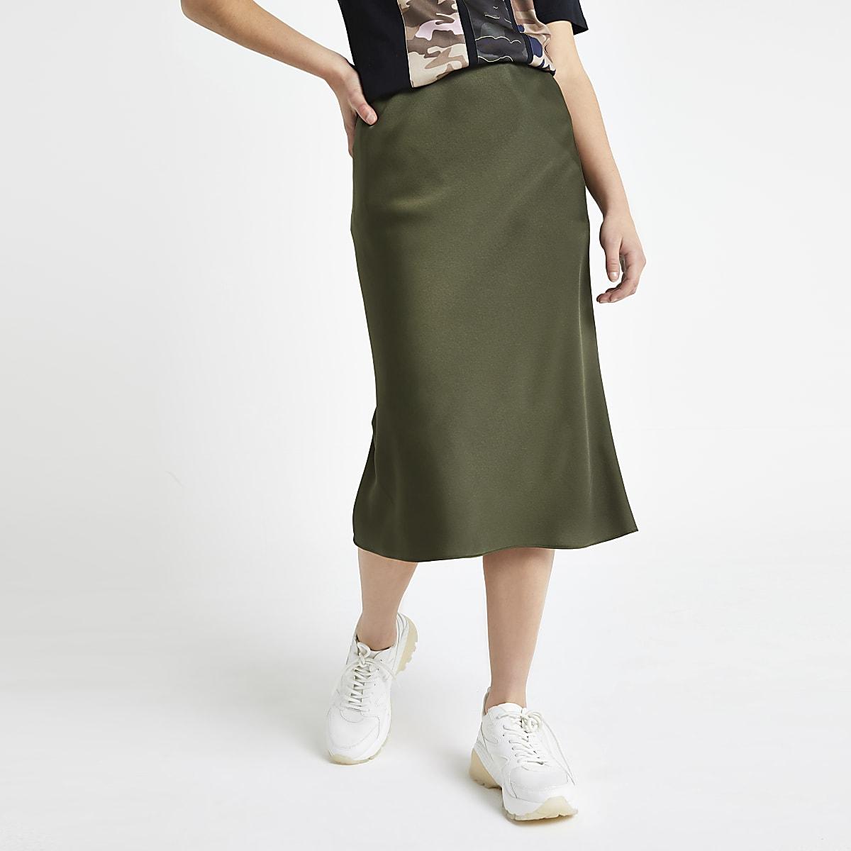 best selection of autumn shoes sale Petite khaki bias cut midi skirt