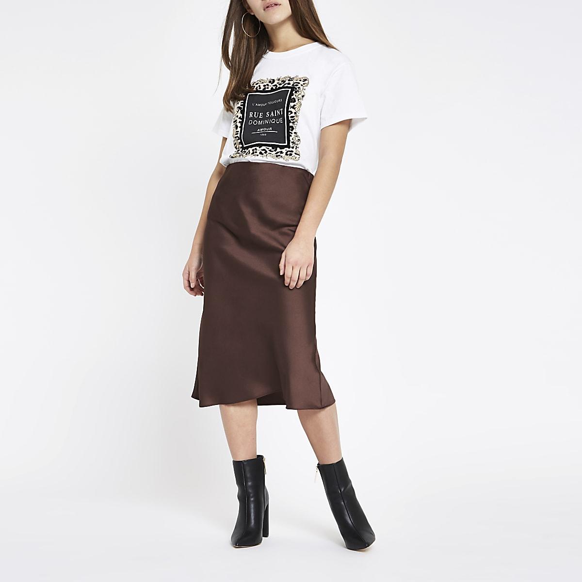 28bb9d8a1 Petite dark brown bias cut midi skirt - Midi Skirts - Skirts - women