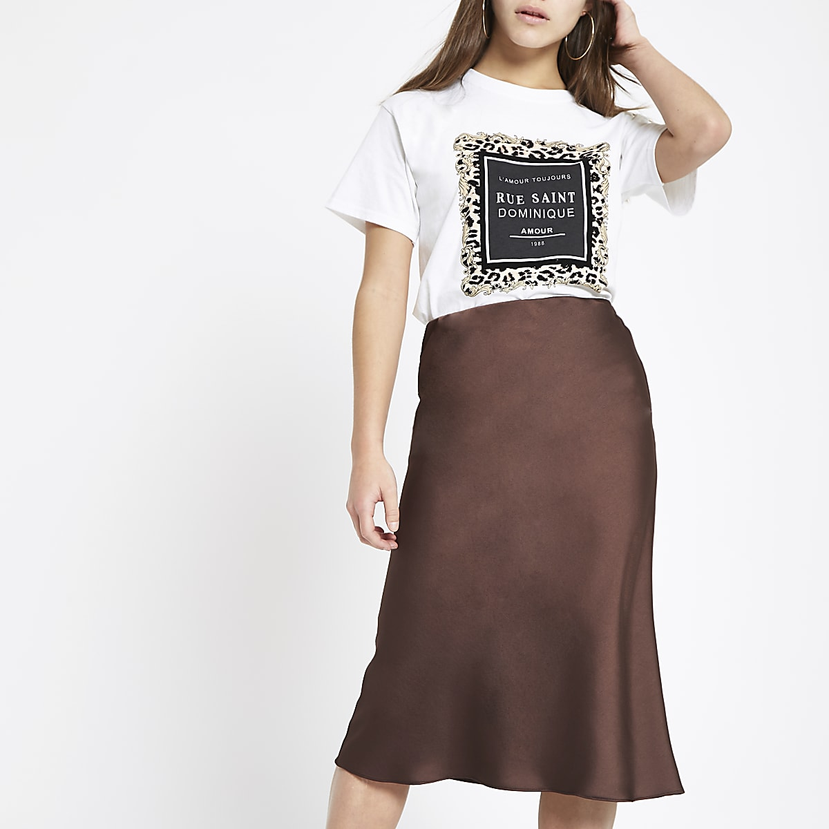 Petite dark brown bias cut midi skirt
