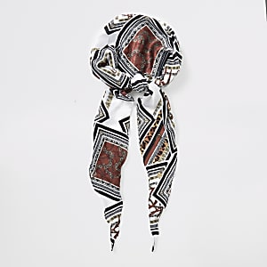 Foulard de tête marron à imprimé baroque