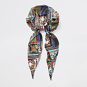 Black mixed print head scarf
