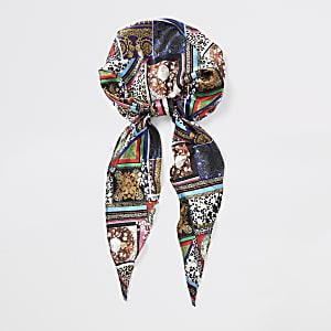 Black mixed print head scarf
