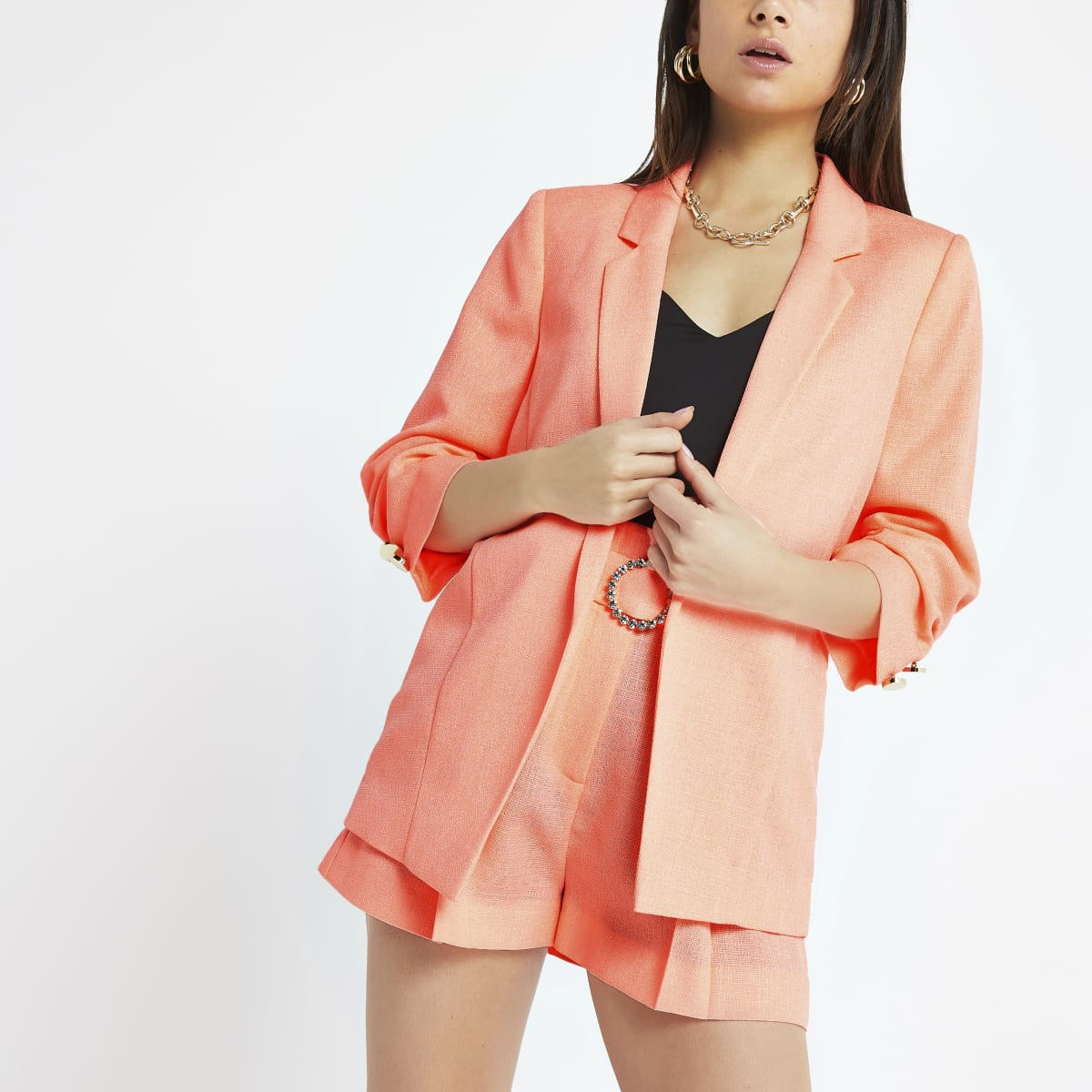 Petite coral ruched sleeve blazer